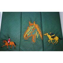 -H01-8 Lovas mintájú hímzett textilzsebkendő 3db, dobozban