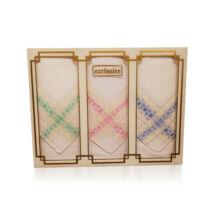 L17-5 Női textilzsebkendő 3 db, díszdobozban