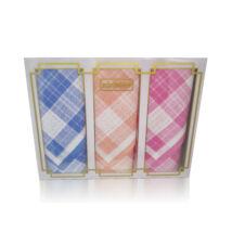 L17-7 Női textilzsebkendő 3 db, díszdobozban