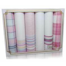 L19-20 Női textilzsebkendő 6db, díszdobozban LUX
