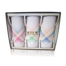 L55-4  Női textilzsebkendő 3db, díszdobozban