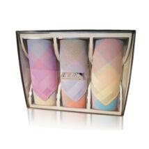 L55-5  Női textilzsebkendő 3db, díszdobozban