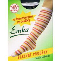 -EMKA csíkos térdfix. 60 DEN,  m:36-41, 1 pár vegyes színek