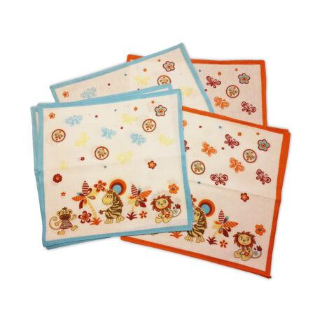 C02-ÁLLATOK Gyerek textilzsebkendő 6 db, füles tasakban