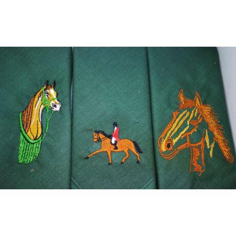 -H01-2 Lovas mintájú hímzett textilzsebkendő 3db, dobozban