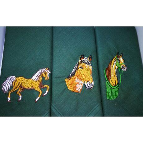 -H01-3 Lovas mintájú hímzett textilzsebkendő 3db, dobozban