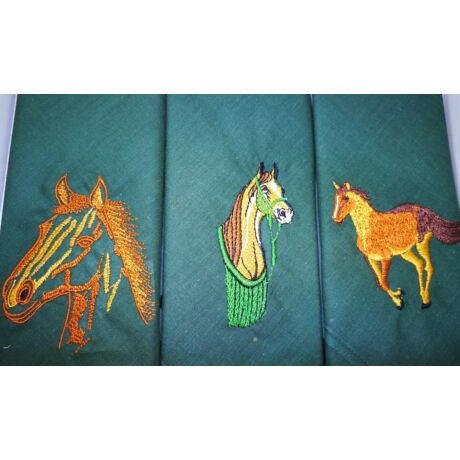 -H01-4 Lovas mintájú hímzett textilzsebkendő 3db, dobozban