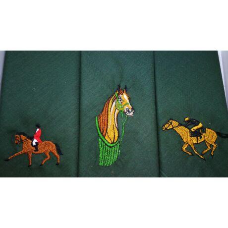 -H01-5 Lovas mintájú hímzett textilzsebkendő 3db, dobozban
