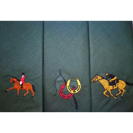 -H01-7 Lovas mintájú hímzett textilzsebkendő 3db, dobozban