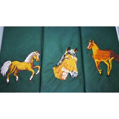 -H01-9 Lovas mintájú hímzett textilzsebkendő 3db, dobozban