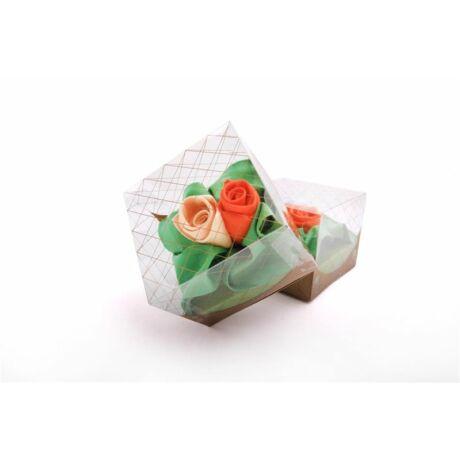 L05 Női textilzsebkendő 3 db, rózsa , dobozban