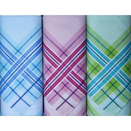 L17-11 Női textilzsebkendő 3 db, díszdobozban