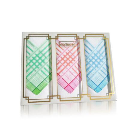 L17-2 Női textilzsebkendő 3 db, díszdobozban