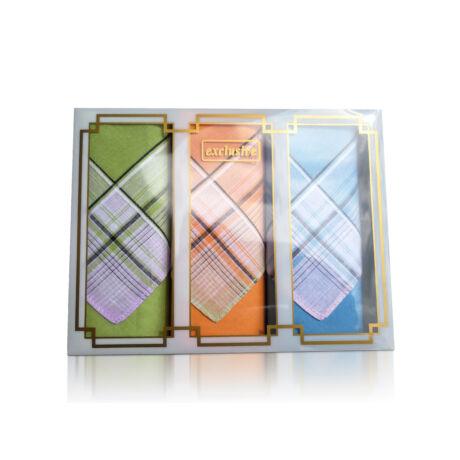L17-4 Női textilzsebkendő 3 db, díszdobozban