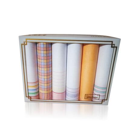 L19-10 Női textilzsebkendő 6db, díszdobozban LUX