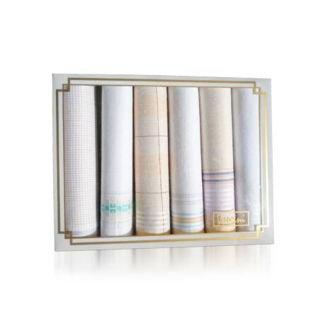 L19-11 Női textilzsebkendő 6db, díszdobozban LUX