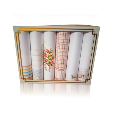 L19-12 Női textilzsebkendő 6db, díszdobozban LUX