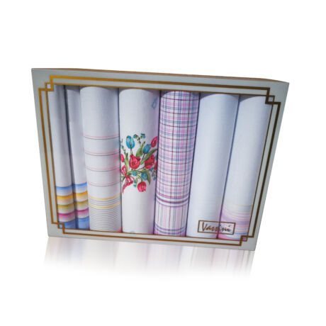 L19-13 Női textilzsebkendő 6db, díszdobozban LUX
