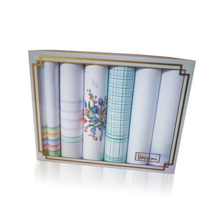 L19-14 Női textilzsebkendő 6db, díszdobozban LUX