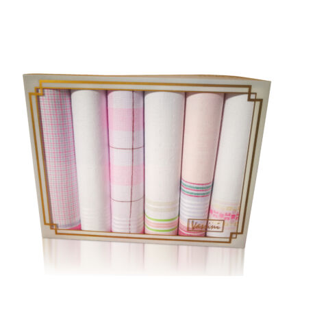 L19-16 Női textilzsebkendő 6db, díszdobozban LUX