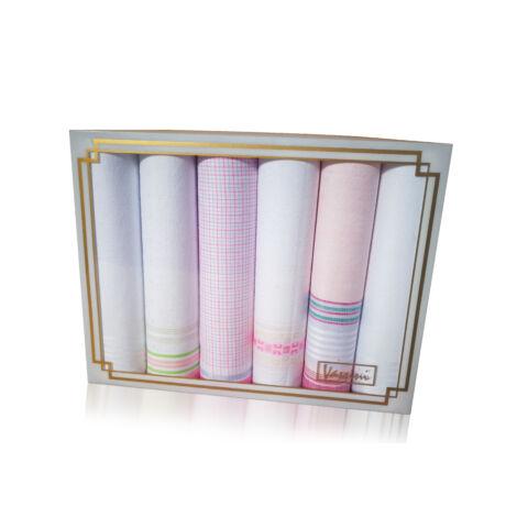 L19-17 Női textilzsebkendő 6db, díszdobozban LUX