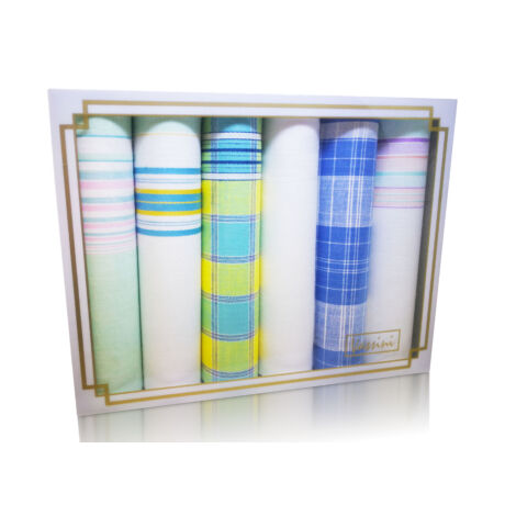 L19-18 Női textilzsebkendő 6db, díszdobozban LUX