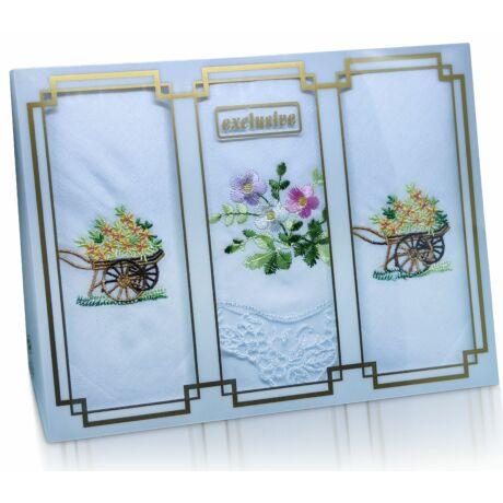 L25-21 Női hímzett textilzsebkendő 3db, díszdobozban