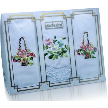 L25-24 Női hímzett textilzsebkendő 3db, díszdobozban