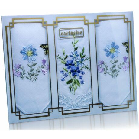 L25-26 Női hímzett textilzsebkendő 3db, díszdobozban