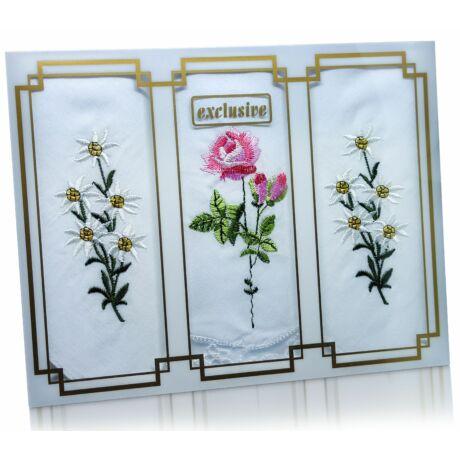 L25-29 Női hímzett textilzsebkendő 3db, díszdobozban