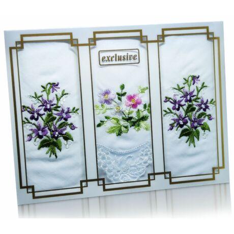 L25-31 Női hímzett textilzsebkendő 3db, díszdobozban
