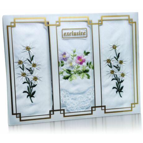 L25-32 Női hímzett textilzsebkendő 3db, díszdobozban