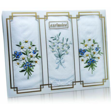 L25-33 Női hímzett textilzsebkendő 3db, díszdobozban
