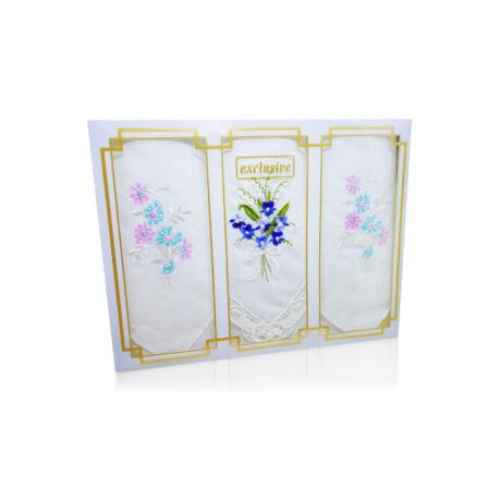 -L25R-13 Női hímzett textilzsebkendő 3db, díszdobozban