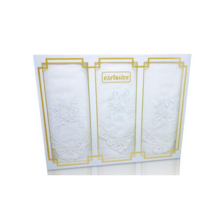 -L25R-3 Női hímzett textilzsebkendő 3db, díszdobozban