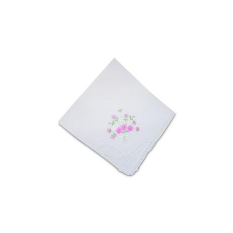L28-1 Női hímzett textilzsebkendő 1db, tasakban