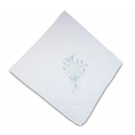 L28-2 Női hímzett textilzsebkendő 1db, tasakban