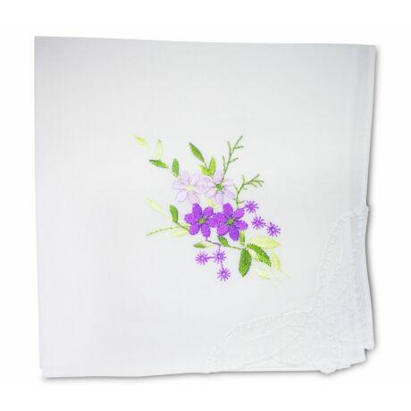 L28-4 Női hímzett textilzsebkendő 1db, tasakban