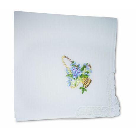L28-5 Női hímzett textilzsebkendő 1db, tasakban