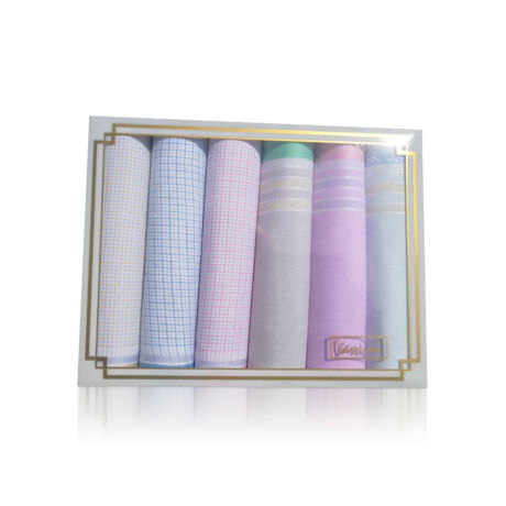 L36-11 Női textilzsebkendő 6db díszdobozban