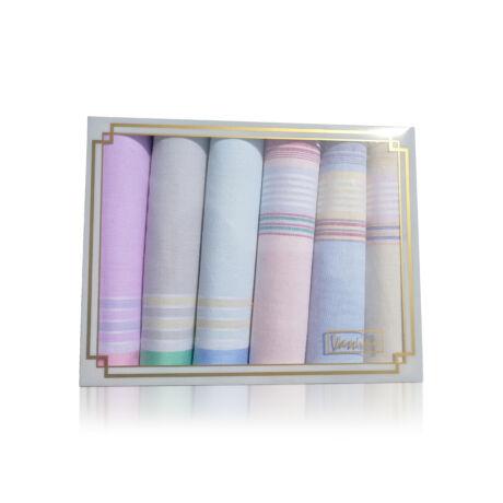 L36-12 Női textilzsebkendő 6db díszdobozban