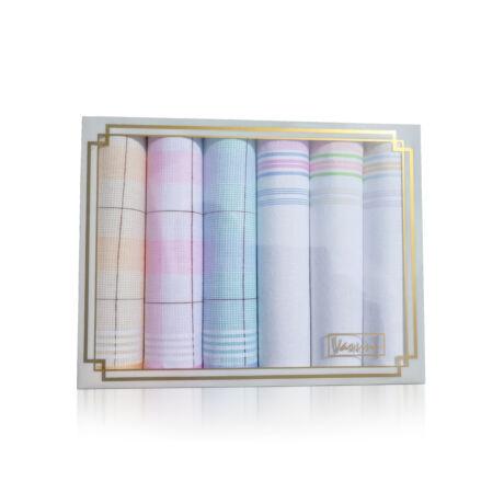 L36-13 Női textilzsebkendő 6db díszdobozban
