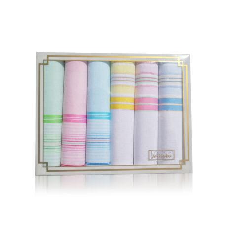 L36-14 Női textilzsebkendő 6db díszdobozban