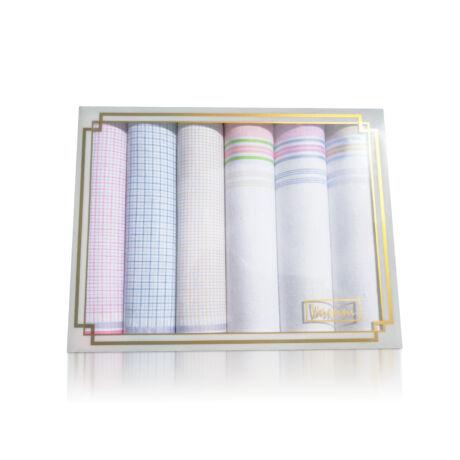 L36-15 Női textilzsebkendő 6db díszdobozban