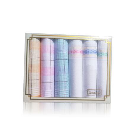 L36-18 Női textilzsebkendő 6db díszdobozban