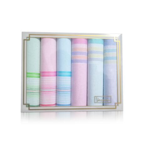 L36-19 Női textilzsebkendő 6db díszdobozban