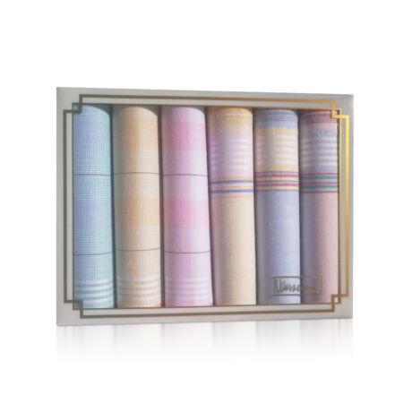 L36-21 Női textilzsebkendő 6db díszdobozban