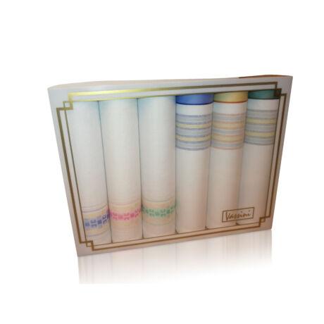 L36-23 Női textilzsebkendő 6db díszdobozban