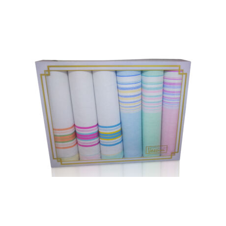 L36-26 Női textilzsebkendő 6db díszdobozban