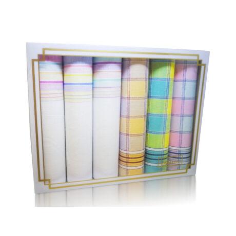 L36-29 Női textilzsebkendő 6db díszdobozban